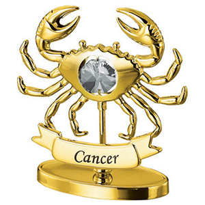 24K Gold Plated Cancer Zodiac Sign Studded with Swarovski Crystals