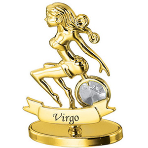 24K Gold Plated Virgo Zodiac Sign Studded with Swarovski Crystals