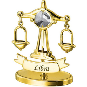24K Gold Plated Libra Zodiac Sign Studded with Swarovski Crystals