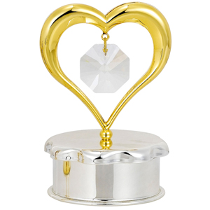 24 Kt Gold Plated Gold Heart Trinket Box Studded with Swarovski Crystals