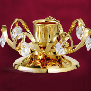 24 Kt Gold Plated Candle Holder Studded with Swarovski Crystals
