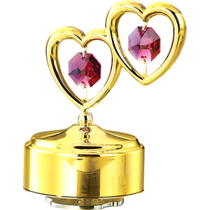 Love & Greeting-24K Gold Plated Musical Base with Double Heart