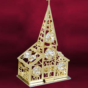 24 Kt Gold Plated Church Studded with Swarovski Crystals
