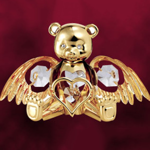 24 Kt Gold Plated Angel Bear Studded with Swarovski Crystals