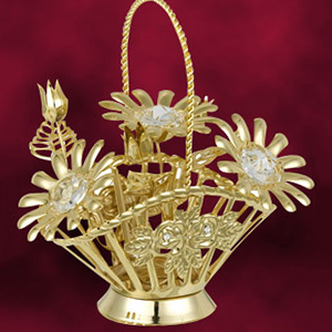 24 Kt Gold Plated Daisy Flower Basket Studded with Swarovski Crystals