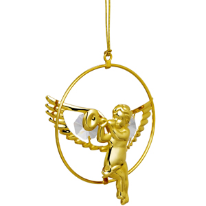 Musical Instruments-24 Kt Gold Plated Angel with Trumpet Studded with Swarovski Crystals