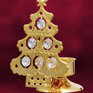 Christmas Series-24 Kt Gold Plated Christmas Tree Candle Stand Studded with Swarovski Crystals