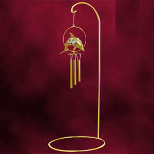 24 Kt Gold Plated Wind Chime Dolphin Studded with Swarovski Crystals
