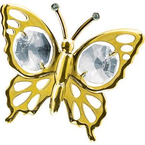 Birds-24 Kt Gold Plated Butterfly Studded with Swarovski Crystals
