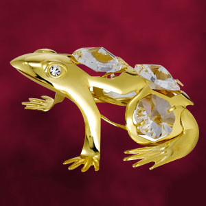 24 Kt Gold Plated Frog Studded with Swarovski Crystals