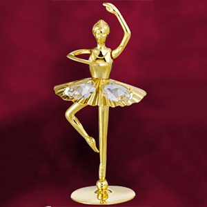 Love & Greeting-24 Kt Gold Plated Ballerina Studded with Swarovski Crystals