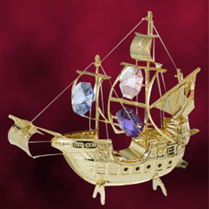 24 Kt Gold Plated Sailing Ship Studded with Swarovski Crystals
