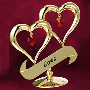 24 Kt Gold Plated Double Heart Studded with Swarovski Crystals