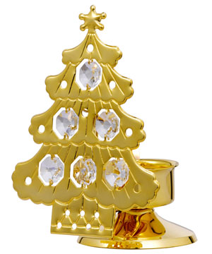 Christmas Series-24kt Gold Plated Christmas Tree Candle Stand Studded with Swarovski Crystals