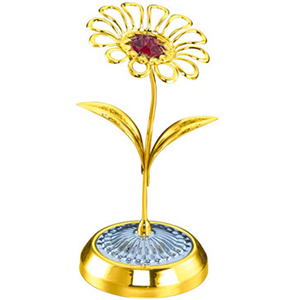 24K Gold Plated Single Daisy Flower Studded with Swarovski Crystals
