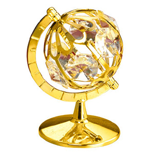 24K Gold Plated Globe Studded with Swarovski Crystals