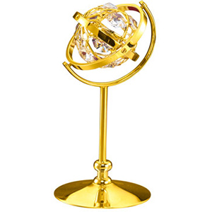 24K Gold Plated Globe On Stand Studded with Swarovski Crystals