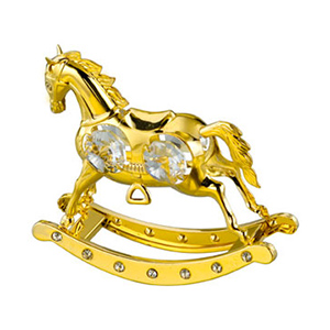 24K Gold Plated Rocking Horse Studded with Swarovski Crystals