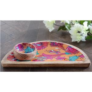 Wooden Cheese Board in Orange blossom