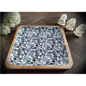 Wooden Square Platter in Black and White Floral Roses