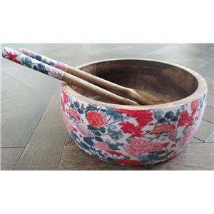 Wooden Salad Bowl with matching wooden cutlery in Pink roses floral
