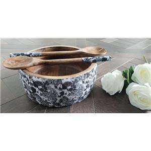 Wooden Salad Bowl with matching wooden cutlery in Black and White Floral Roses