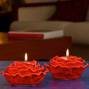 Red Rose Tea Light Holder