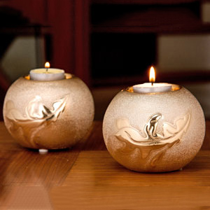 Golden Globe Tea Light Holder