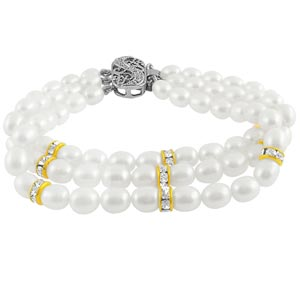 Jpearls Three String White Pearl Braclet