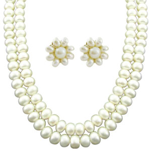 Jpearls Two Line Pearl Necklace Set