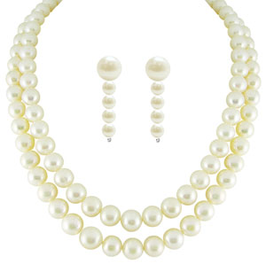 Jpearls Dual Line Pearl Necklace Set