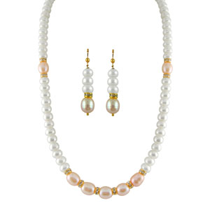 Jpearls Peach Pearl Necklace Set