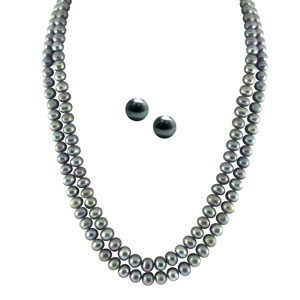 Jpearls 2 String Grey Pearl Set