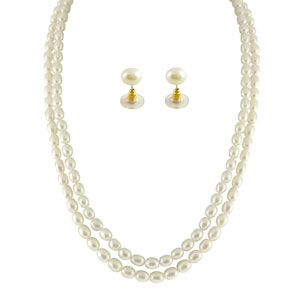 Jpearls 2 String Oval Pearl Necklace Set