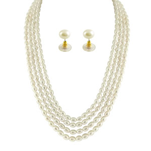 Jpearls 4 String Oval Pearl Necklace Set