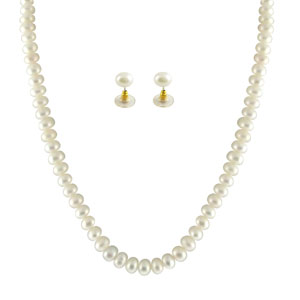 Jpearls Single Line White Pearl Set