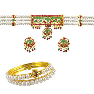 Pearl Sets-Jpearls Multi Color Choker Set with Bangles