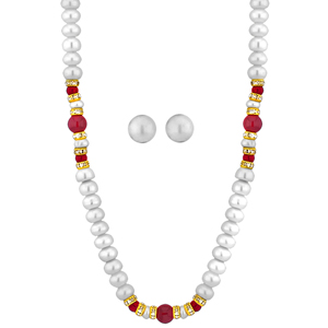 Pearl Sets-Jpearls Delightful Button Pearl Necklace
