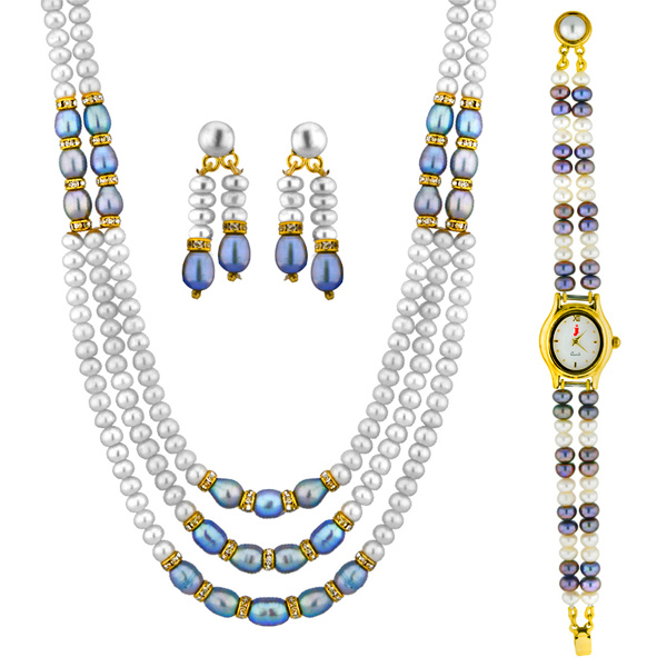 Jpearls Appealing Pearl Necklace Set with Watch