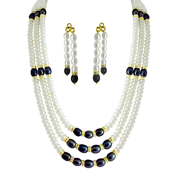 Pearl Sets-Jpearls 3Line Monolithic Pearl Set