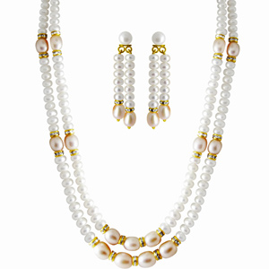 Pearl Sets-Jpearls 2 Line Facund Pearl Set.