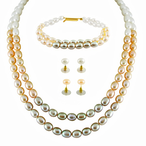 Pearl Sets-Jpearls Colourfule Necklace Set With Bracelet