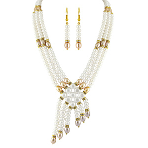 Pearl Sets-Jpearls 3 String Pearl Necklace Set