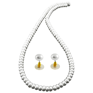 Pearl Sets-Jpearls Simply The White Pearl Necklace