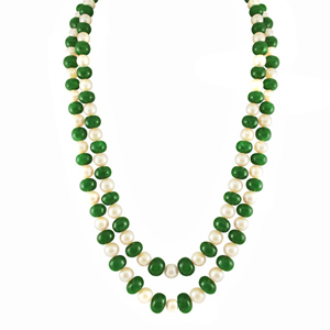 Pearl Sets-Jpearls Emerald Necklace