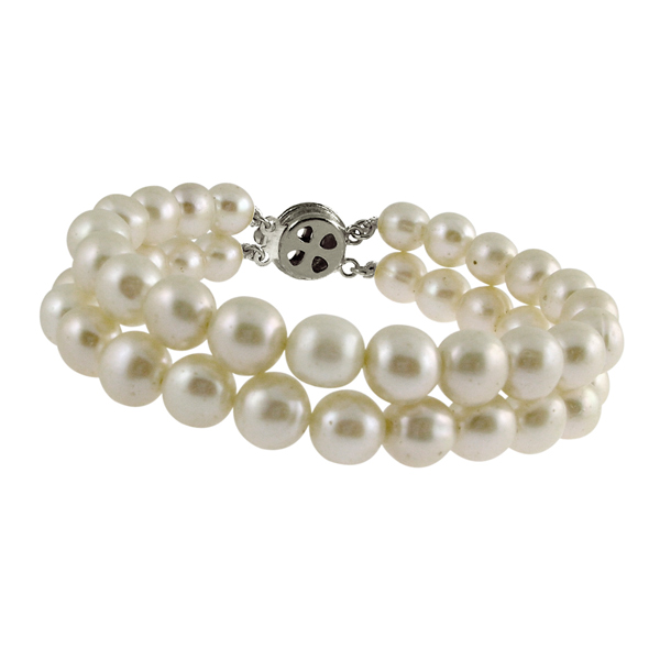 Jpearls Fashionable 2String White Pearl Bracelet
