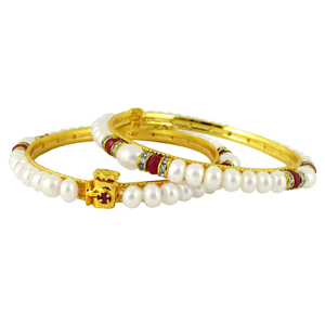 Pearl Bangles-Jpearls White Cz Button Pearl Bangles