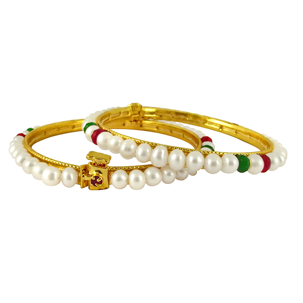 Jpearls White Button Pearl Bangles