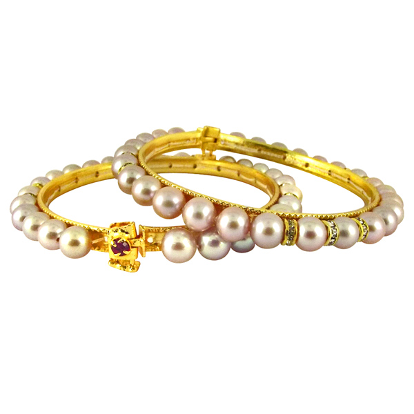 Jpearls Pink Cz Button Pearl Bangles