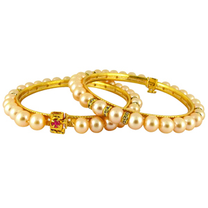Pearl Bangles-Jpearls Peach Color Button Pearl Bangles